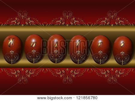 Easter eggs with a gold pattern on a burgundy background