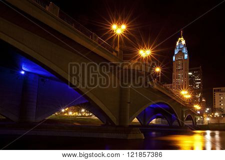 Columbus, Ohio from under the Broad Street Bridge at night