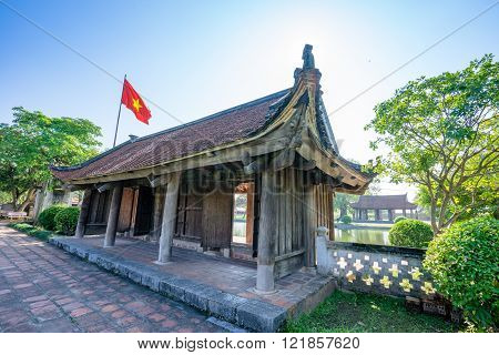 Beauty Keo pagoda architecture with old tile roof with a wooden pavilion  beauty pagoda in ThaiBinh, Vietnam