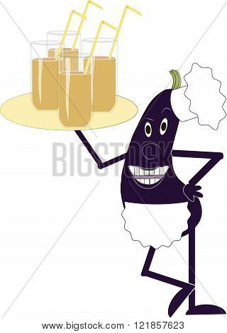 Purple eggplant in a white apron and chef hat holding a tray with glasses in hand on white background, shiny glasses of juice, yellow  straws the chef, the waiter, vector