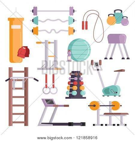 Vector illustration of gym equipment and training body gym sport equipment. Fitness sport gym exercise equipment workout flat set concept vector illustration.