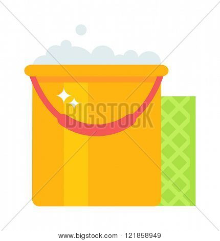 Yellow cleaning bucket with green cloth, cleaning bucket house sanitary equipment vector. Bucket and cloth for cleaning housework flat vector illustration isolated on white.