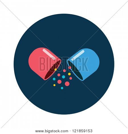 Pills vitamin icon of medication pills and medicaments flat vector icon. Colored vitamin pills icon medical drugs cartoon flat vector illustration.