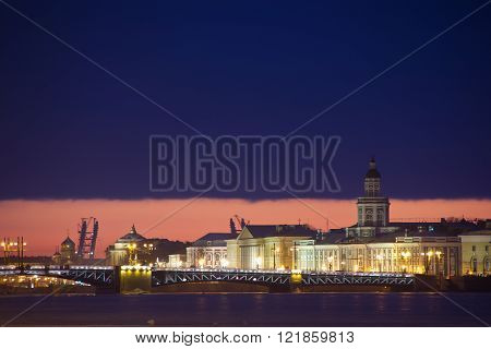 View of arrow of Vasilevsky island in St. Petersburg, Russia