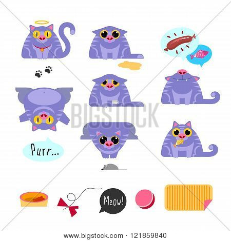 Cat flat design icon set
