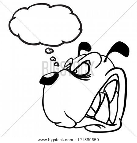 simple black and white angry dog with thought bubble