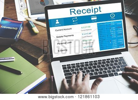 Receipt Receipts Cost Expenses Financial Spend Concept