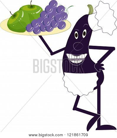 Purple eggplant in a white apron and chef hat holding a tray with violet grape and green apples in hand on white background, the chef, the waiter, vector
