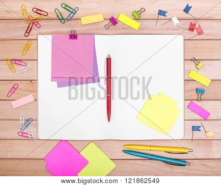 Stationery. Still life on wooden boards.