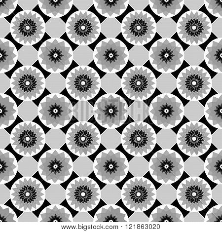 Black And White Vector Seamless Abstract Floral Vintage Texture. Vector Illustration