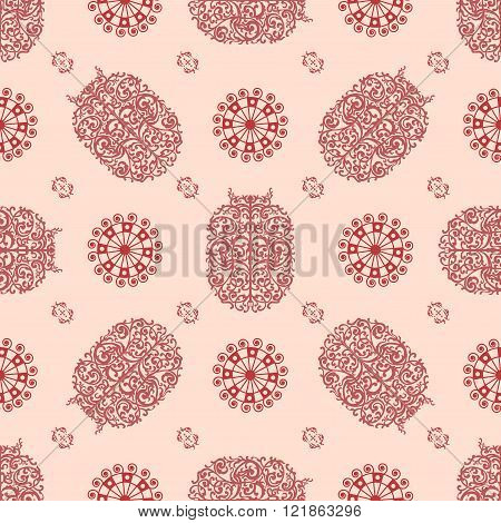 Red And Rose Ancient Vintage Seamless Ornamental Texture. Vector Illustration