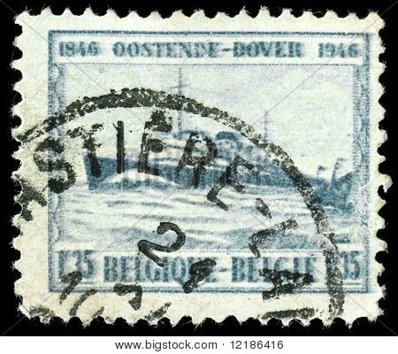 vintage french stamp, depicting an English channel passenger ferry on the route from Ostende to Dover 1946