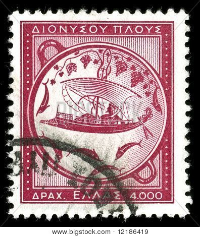 vintage stamp depicting ancient Greek sailing ship