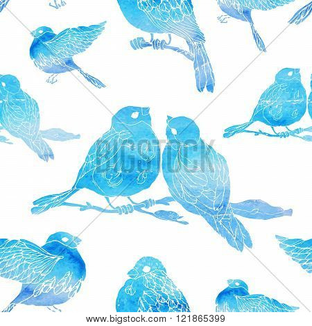Seamless pattern with little birds