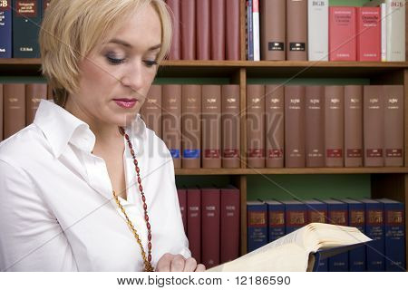 Lawyer in a legal libary