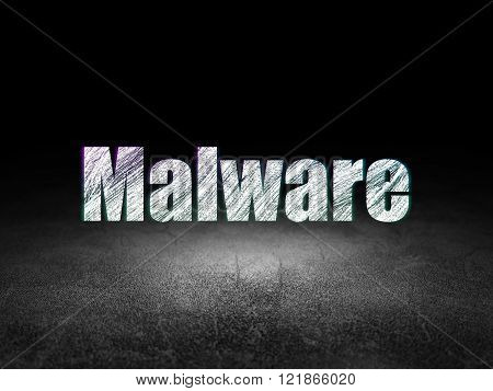 Protection concept: Malware in grunge dark room
