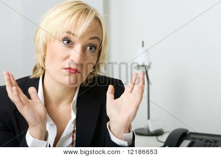 Business girl being sorry