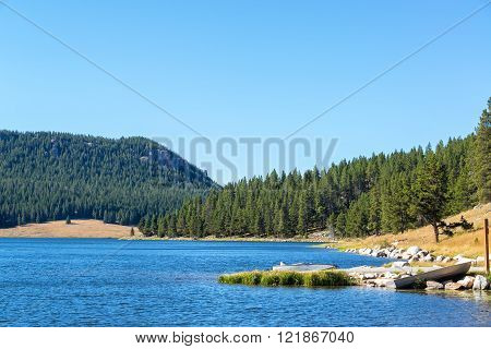 View of Meadowlark Lake in Bighorn National Forest in Wyoming