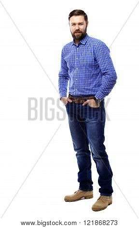 Full body portrait of happy smiling business man, isolated on white