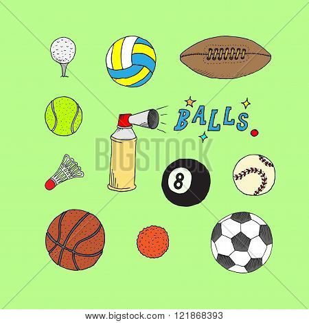Collection Of  Sports Balls Vector Illustration Isolated Doodle stile