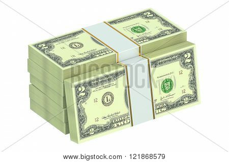 packs of dollars isolated on white background