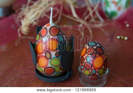Easter eggs and candles.