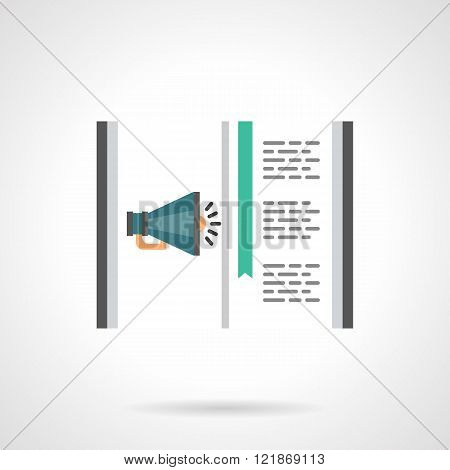 Online ads flat color design vector icon