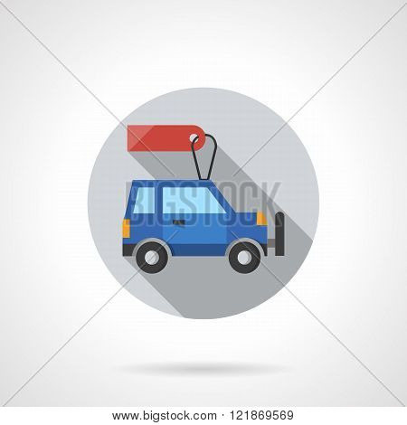 Sale discount cars round flat color vector icon