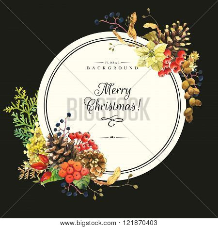 Illustration with watercolor flowers. Merry christmas.