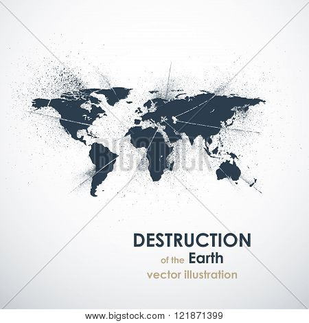 The death of the Earth vector illustration. Grunge abstract back