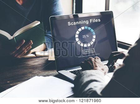 Scanning Files Searching Processing Antivirus Concept