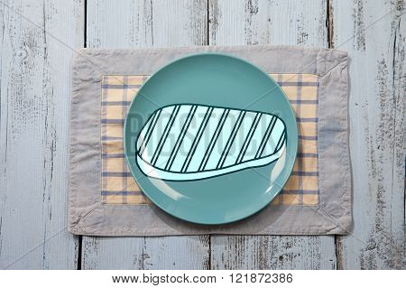 Empty plate with meat sign on light blue wooden background