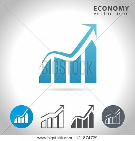 Economy icon set collection of charts vector illustration