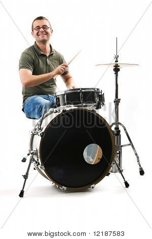 Drummer drifting away at the rhythm