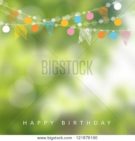 Birthday garden party or Brazilian june party vector illustration with garland of lights party flags and blurred background