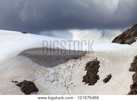 Snow cornice in mountains. Turkey Central Mountains Aladaglar (Anti-Taurus) plateau Edigel. Close-up view.