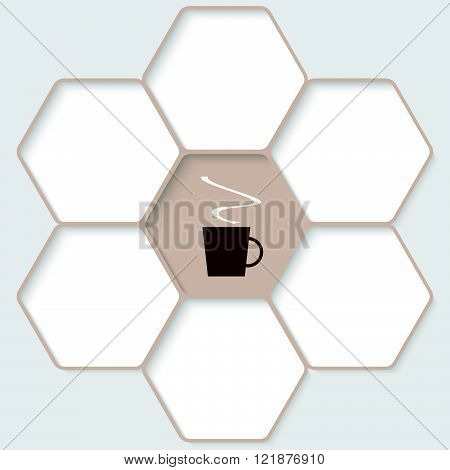 Set of five hexagons for your text and a cup of coffee