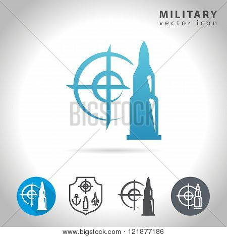 Military icon set collection of bullet target and army symbols vector illustration