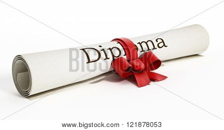 Rolled up diploma isolated on white background