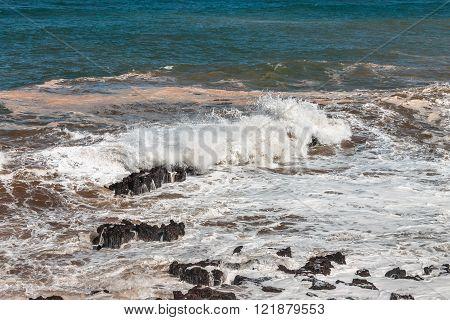 Wave beats on the stones. Morocco, Casablanca