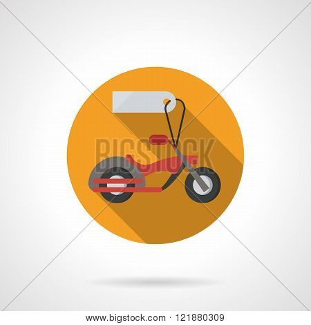 Motorbike for sale round flat color vector icon
