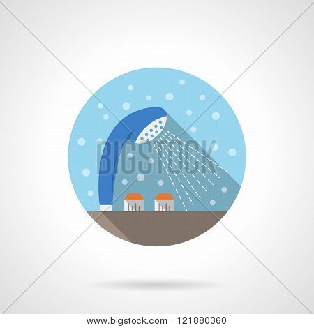 Shower tap round flat color vector icon