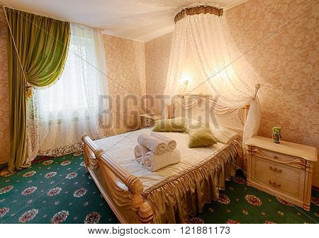 Vintage classic hotel bedroom interior