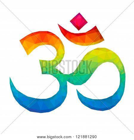 Om Aum Symbol in Polygonal Style