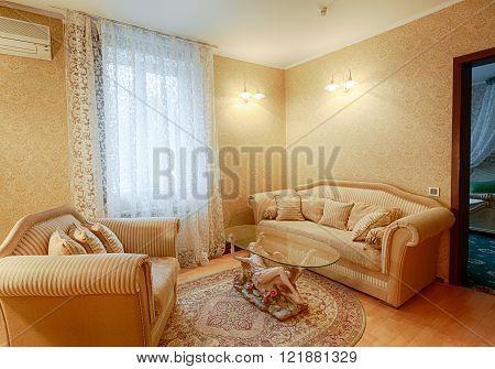 Vintage classic hotel room interior