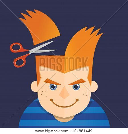 Vector illustration of a young boy having a hair cut