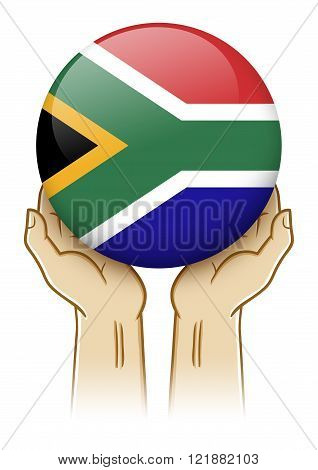 Pair of hand holding and lifting an orb with South Africa insignia