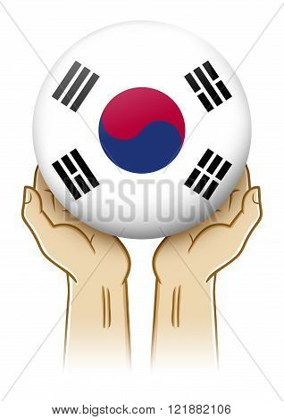 Pair of hand holding and lifting an orb with South Korea insignia