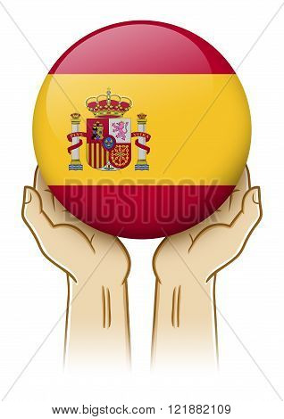 Pair of hand holding and lifting an orb with Spain insignia