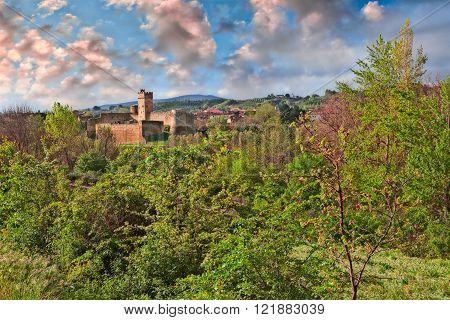 Staggia Senese, Siena, Tuscany, Italy: landscape of the countryside with the medieval castle in the green wild vegetation
